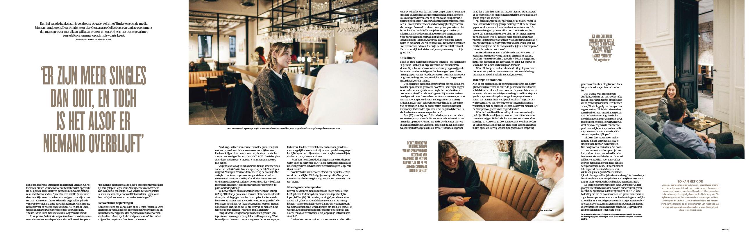 De Morgen Magazine reportage collect singles evenementen
